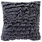 Grey Velvet Ruffle Throw Pillow Cover