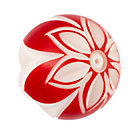 White Red Floral Hand Picked Knob