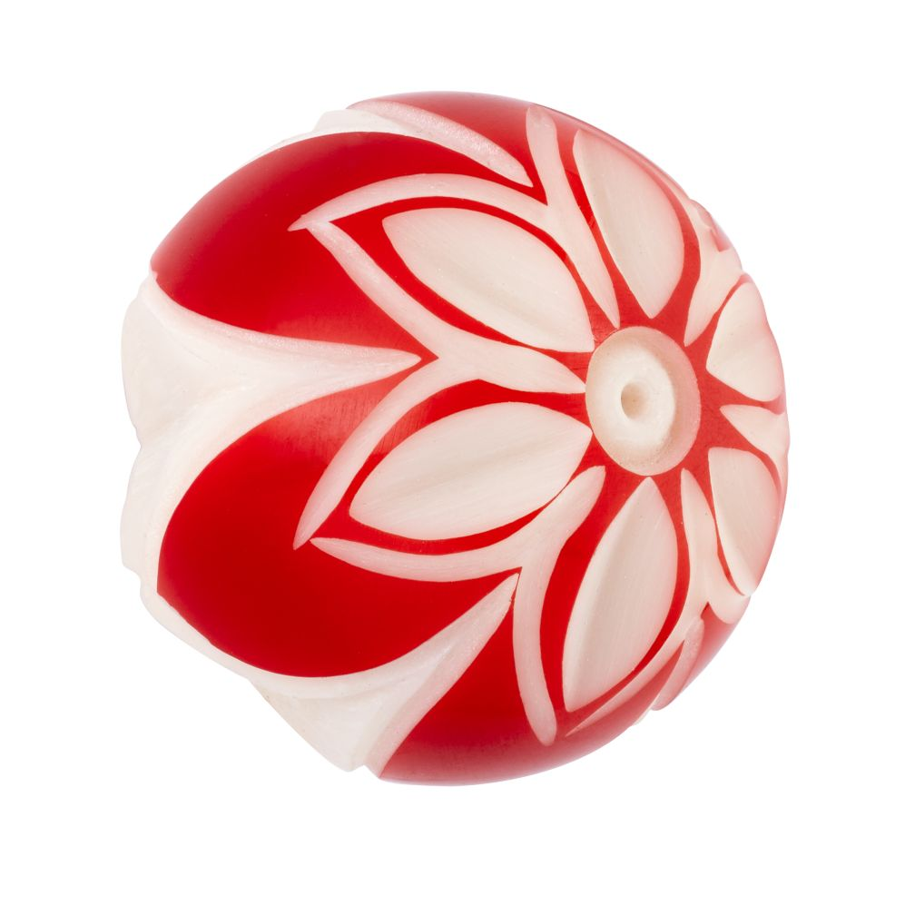 Hand Picked Knobs (White and Red Flower)