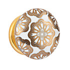 Gold White Floral Hand Picked Knob