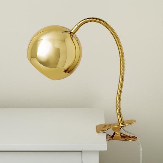 kids lighting gold vintage clip on table lamp the land of nod. Black Bedroom Furniture Sets. Home Design Ideas