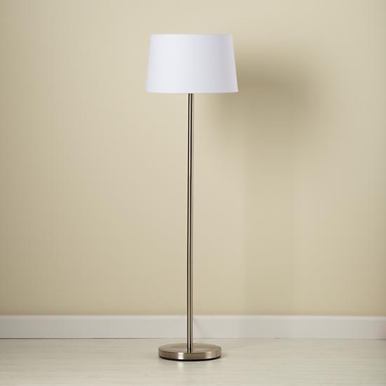 kids 39 floor lamps kids nickel floor lamp base with white fabric shade. Black Bedroom Furniture Sets. Home Design Ideas