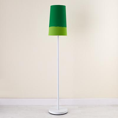 Kids' Lighting: Kids' White Floor Lamp and Green Two-Tone Shade in