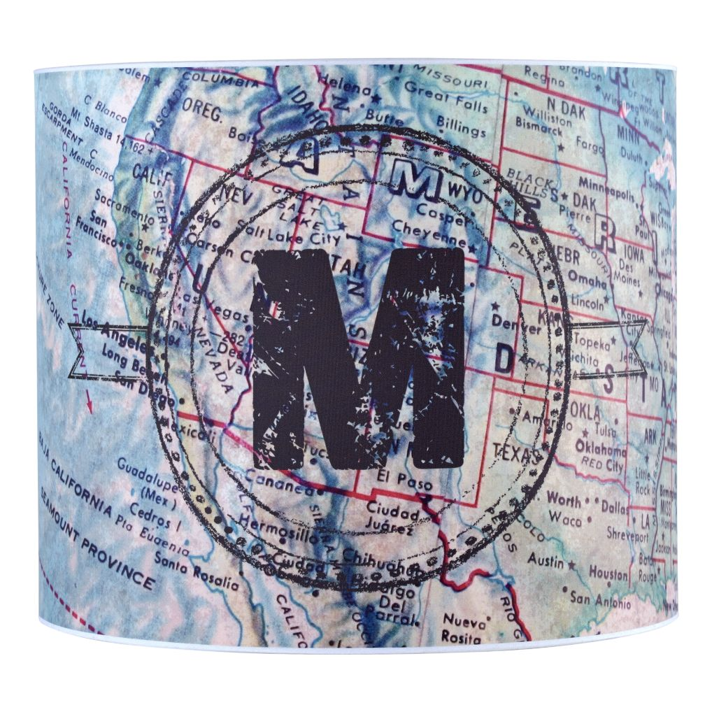 Personalized Table Shade (Blue Map)