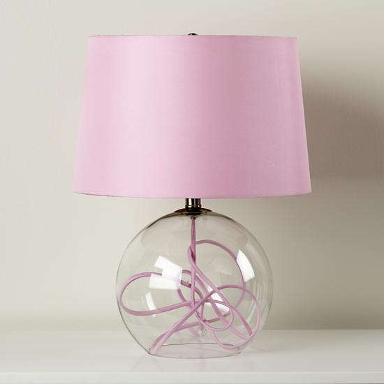 kids lighting pink crystal ball table lamp the land of nod. Black Bedroom Furniture Sets. Home Design Ideas