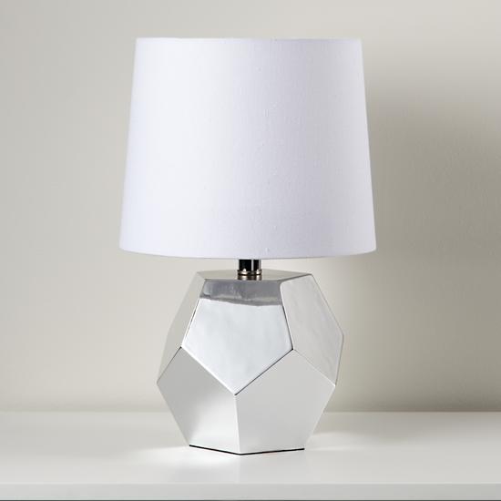 kids lighting silver geometric lamp base the land of nod. Black Bedroom Furniture Sets. Home Design Ideas