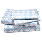 Full Blue Lattice Sheet Set(includes 1 fitted sheet, 1 flat sheet and 2 cases)