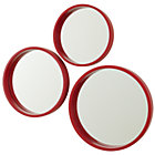 Red Circle Mirror Set of 3