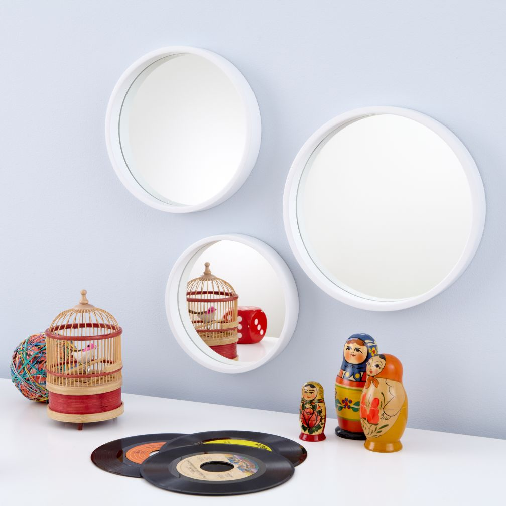 Ahoy There, Mirrors (White, Set of 3)