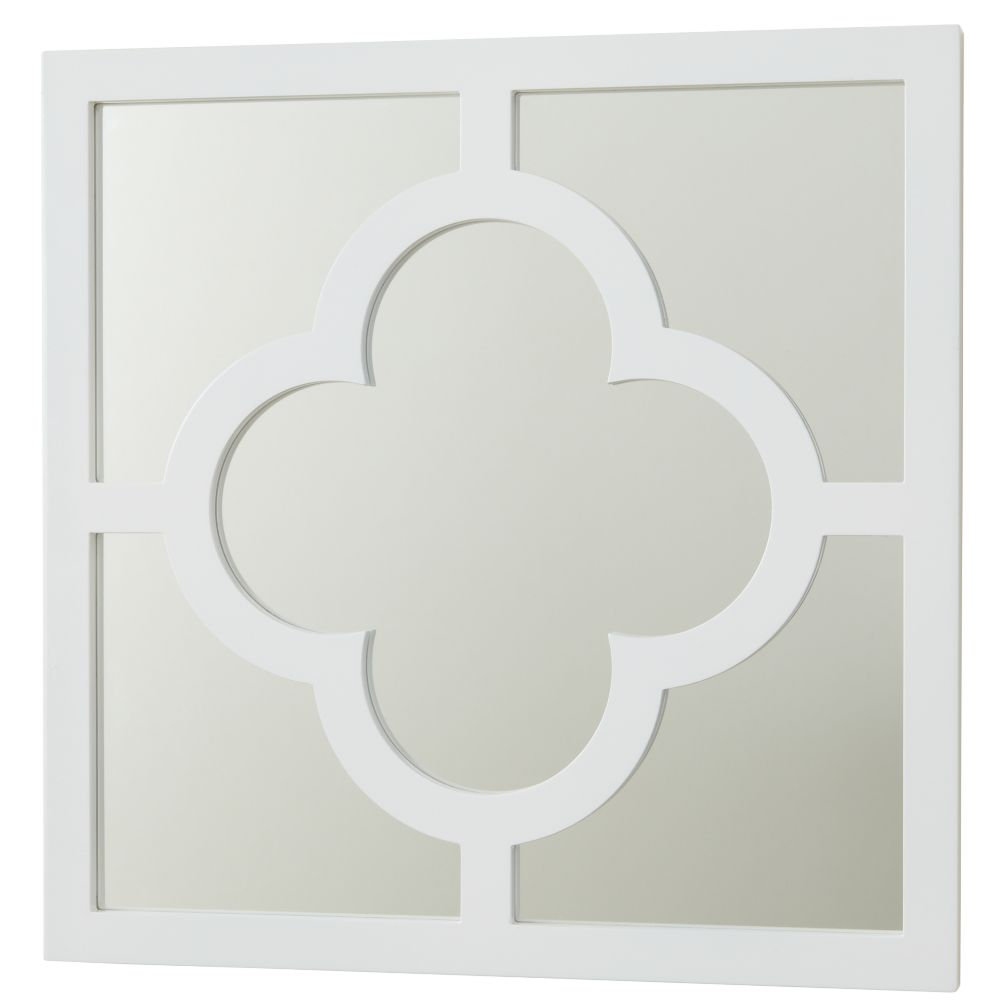 White My Lucky Four Leaf Mirror