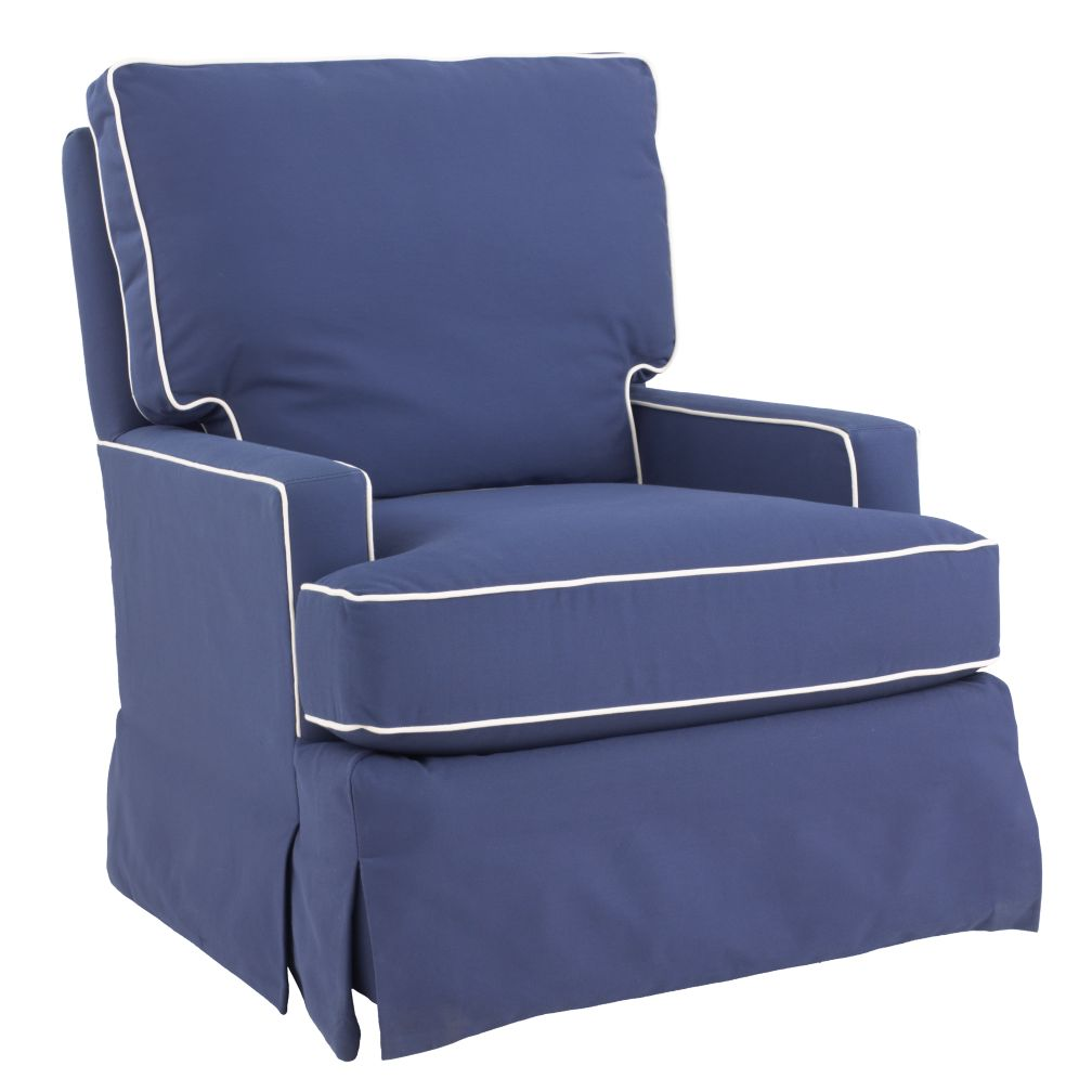 Mod Nod Swivel Glider (Slate Blue w/ Natural Piping)