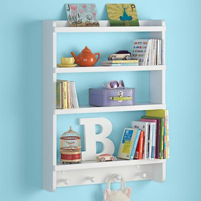 Kids Wall Rack: White Hanging Wall Book Shelf in Shelves & Hooks ...