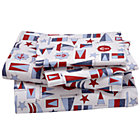 Full Nautical Print Sheet Set(includes 1 fitted sheet, 1 flat sheet and 2 cases)