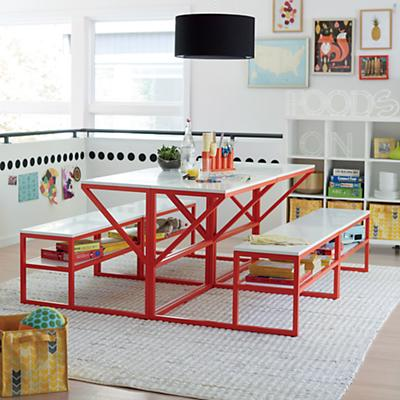 New School Table With Bench (Red-Orange/White)