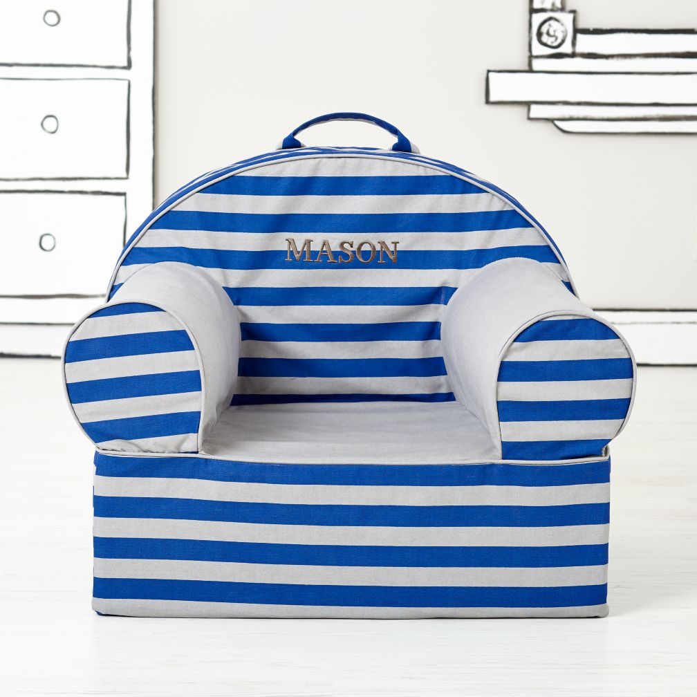 Personalized Blue Rugby Stripe Nod Chair<br /><br />(Includes Cover and Insert) <br />