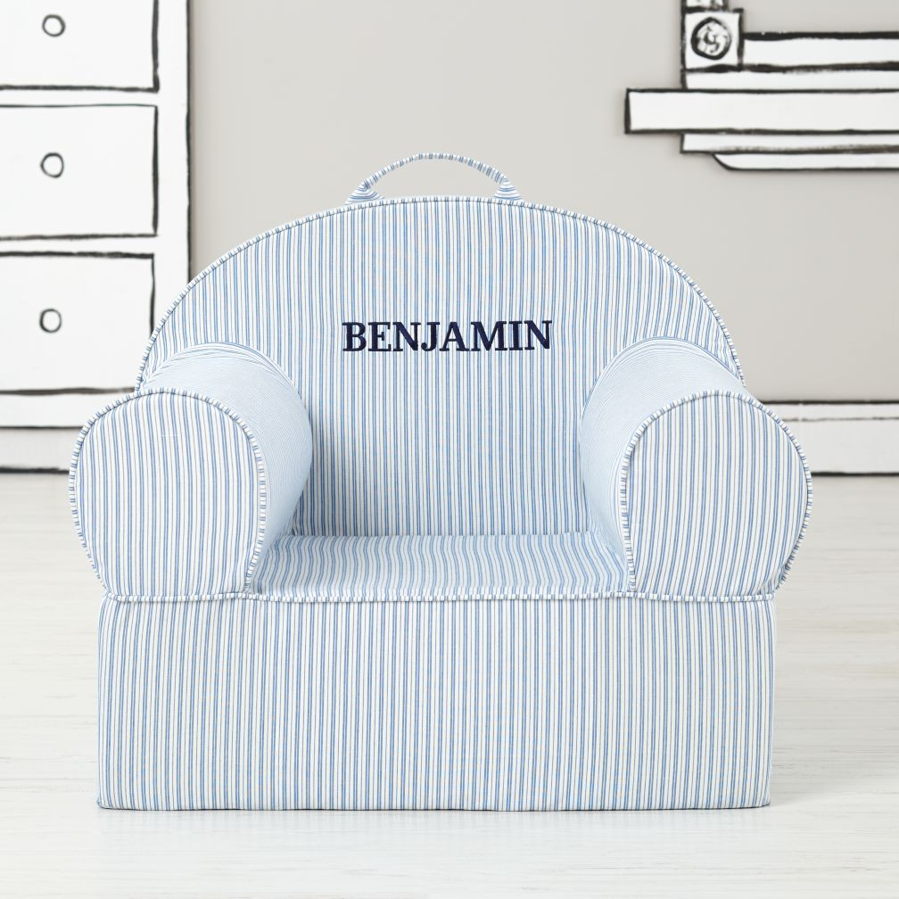 Executive Personalized Nod Chair Cover (Blue Ticking Stripe)