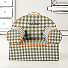 Personalized Grey Gingham Nod Chair CoverFree embroidered personalization