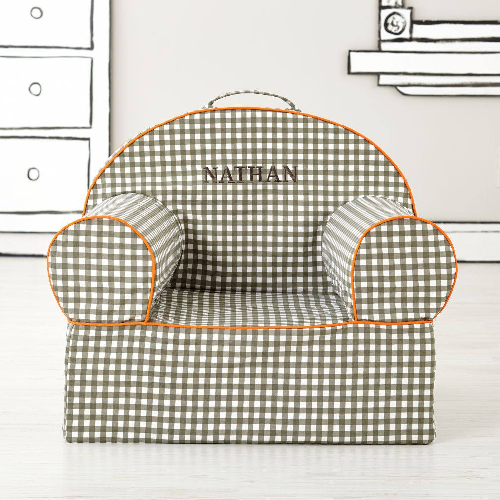 Executive Personalized Nod Chair (Grey Gingham)