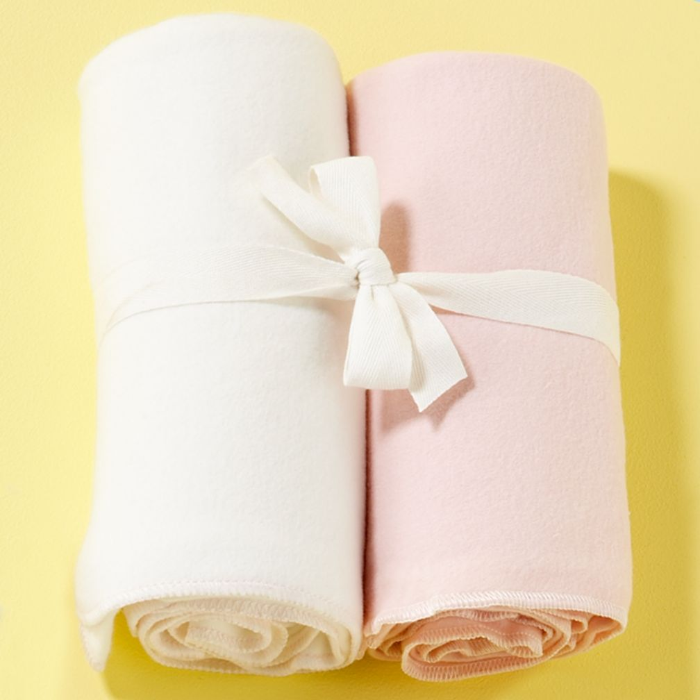 Pink/White Organic Blankets (Set of 2)
