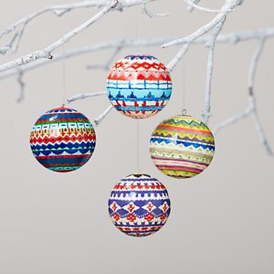 Fair Isle Ornaments (Set of 4)