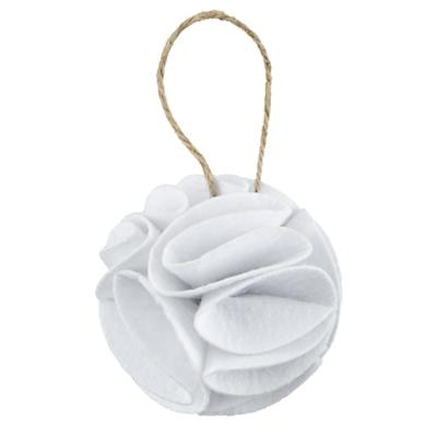 White Frilled Felt Ornament