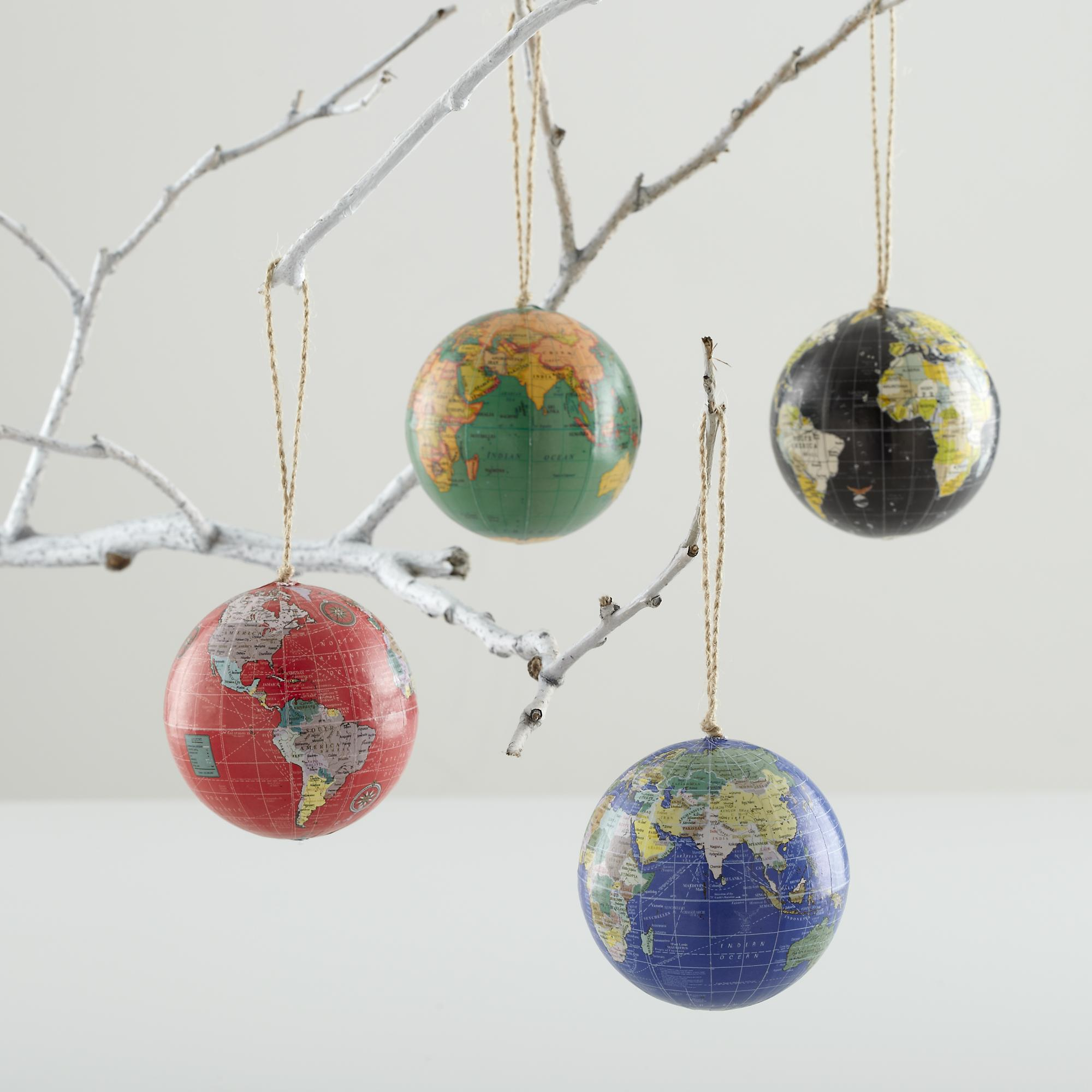 World globe christmas ornaments - Globe Ball Ornaments