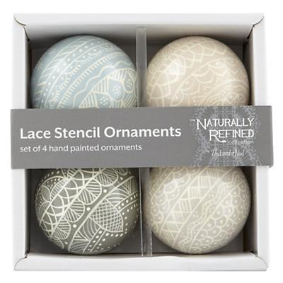 Lace Stencil Ornaments (Set of 4)