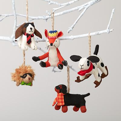 Plush Animal Ornaments (dogs, hedgehog, a fox)