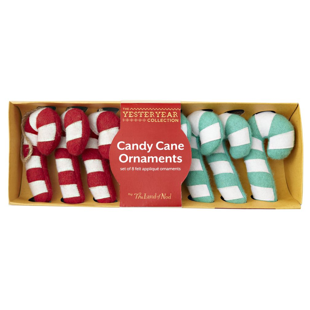 Set of Felt Candy Cane Ornaments