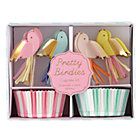 Set of 24 Pretty Birdies Cupcake KitIncludes enough cupcake liners toppers to decorate 24 cupcakes