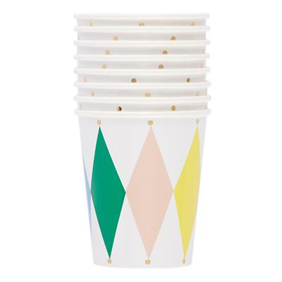 Toot Sweet Harlequin Party Cups (Set of 8)