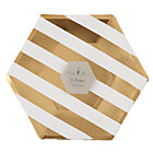 Gold Stripe Large Party PlatesSet of 8