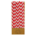 Red Stripe Paper Party StrawsSet of 24