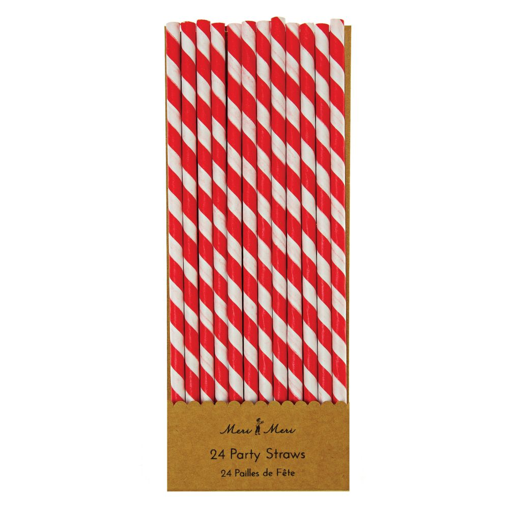 Toot Sweet Party Straws (Red Stripe)