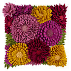 Floral Felt Applique Throw Pillow