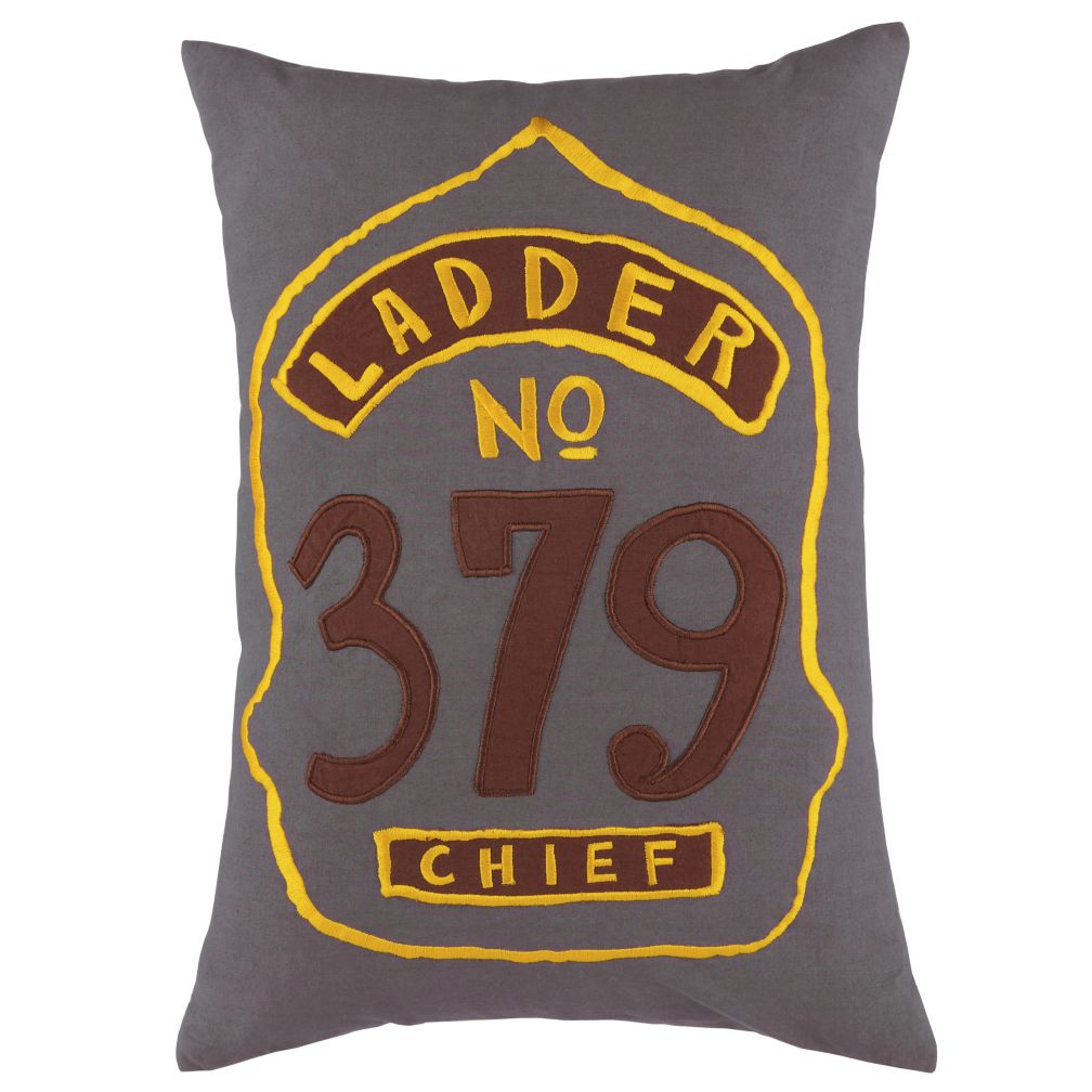 Firefighter Badge Throw Pillow (Grey)