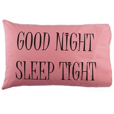 Good night pillowcases pink