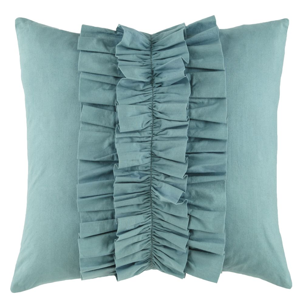 Blue Ruffle Throw Pillow