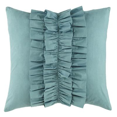Blue Ruffle Throw Pillow