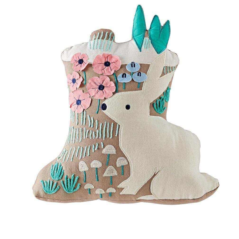 Folktale Forest Bunny Throw Pillow