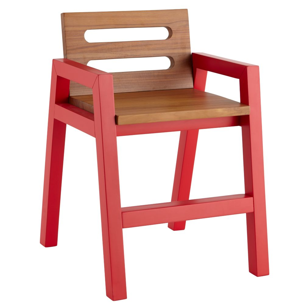 Two-Tone Teak Play Chair (Red)