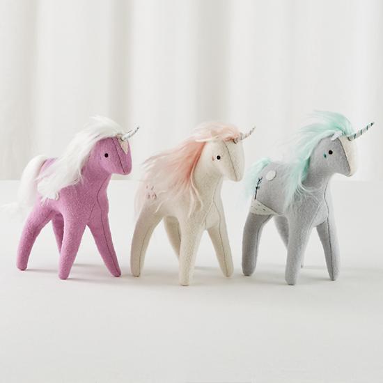 stuffed unicorn toy grey the land of nod. Black Bedroom Furniture Sets. Home Design Ideas