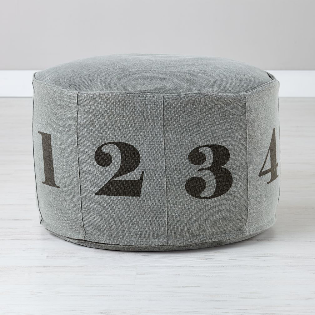 Numbers Pouf (Grey)