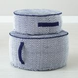 Herringbone Pouf (Blue)