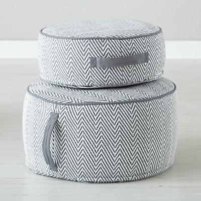 Herringbone Pouf (Grey)