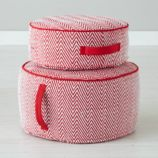 Herringbone Pouf (Red)