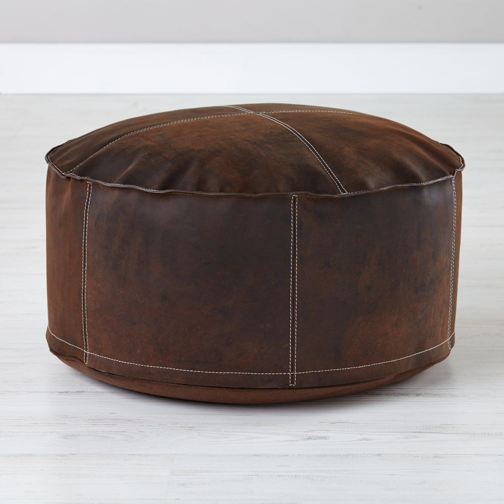 Brown Leather Sit in Style Pouf