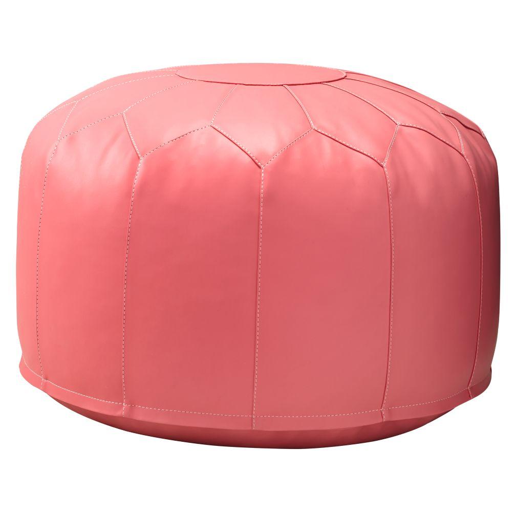 faux leather pouf dk pink. Black Bedroom Furniture Sets. Home Design Ideas