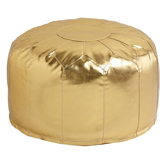 Gold Floor Pillows : Faux Leather Pouf (Gold) The Land of Nod