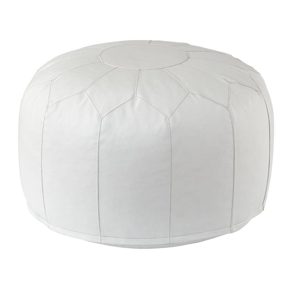 White Faux Leather Pouf